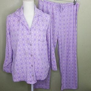 😻 Nicole Miller Lavender Print Fleece Pajamas L